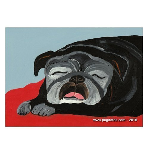 Black Pug Note Cards Sweet Dreams