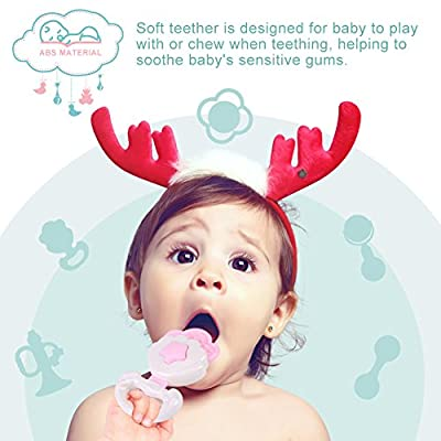 Aisheny 5-Pcs/Set Baby Rattle Molar Toy 0-12 Months Musical Toys (Random Color): Toys & Games