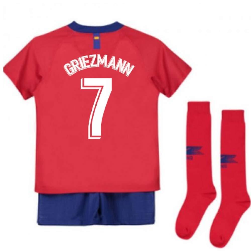 UKSoccershop 2018-2019 Atletico Madrid Home Nike Little Boys Mini Kit (Antoine Griezmann 7)