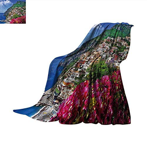 Amalfi Sofa (Italy Weave Pattern Blanket Scenic View of Positano Amalfi Naples Blooming Flowers Coastal Village Image Summer Quilt Comforter 80