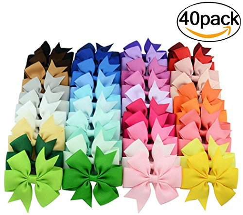 Coxeer 40Pcs/Pack Ribbon Hair Bows Clips Hairpin Hair Accessories for Baby Girls Kids Teens Toddlers Children