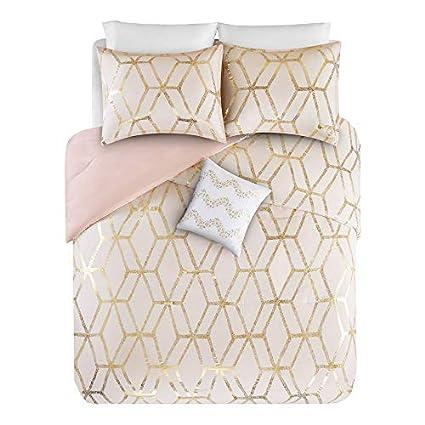 . Comfort Spaces Vivian 4 Piece Comforter Set Ultra Soft All Season  Lightweight Microfiber Geometric Metallic Print Hypoallergenic Bedding   Full Queen