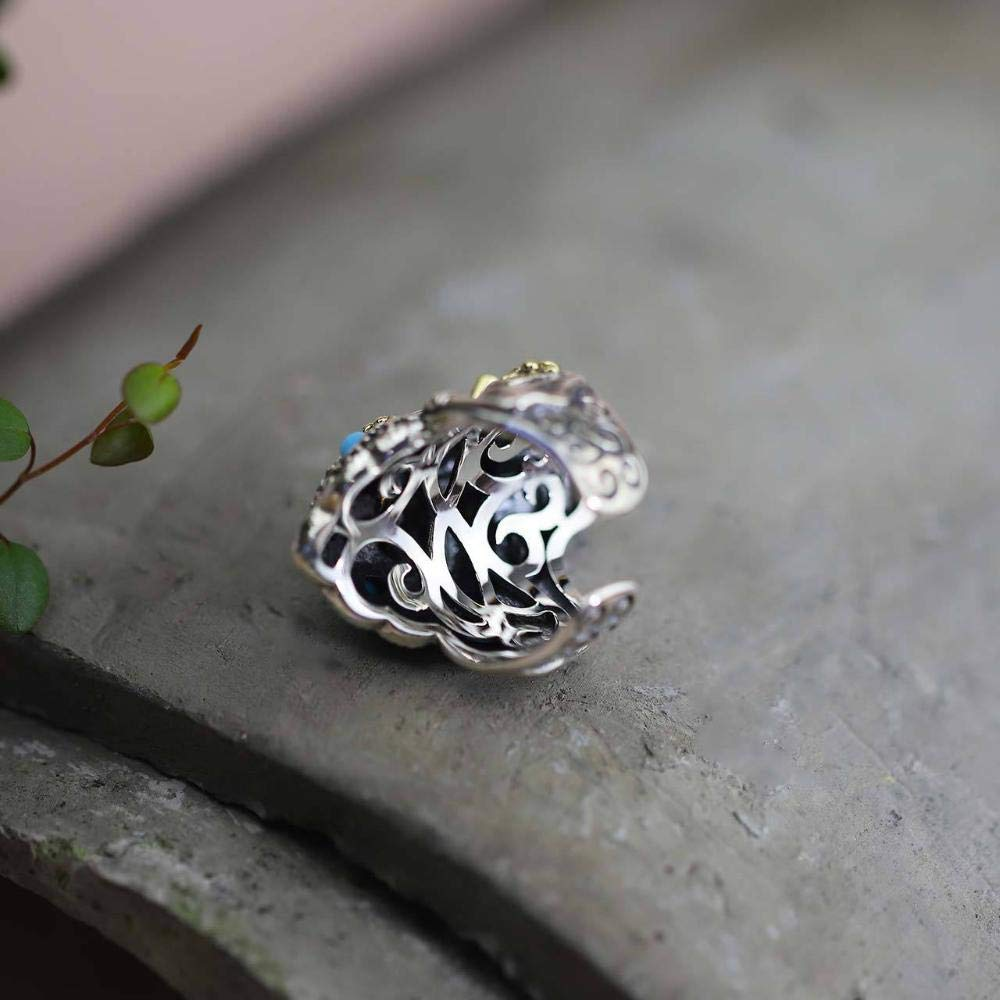 Dixinla Rings Adjustable, S925 Sterling Silver Stone Mens Character Punk Style Elephant Ring Jewelry Gift for Family or Friends