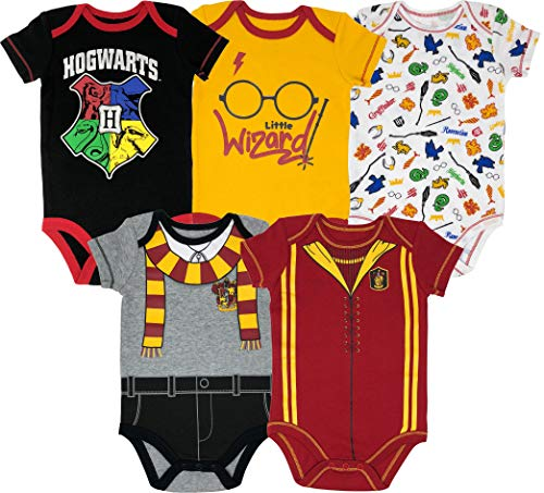 Warner Bros Harry Potter Baby Boys' 5-Pack Bodysuits Hogwarts Gryffindor (Newborn)]()
