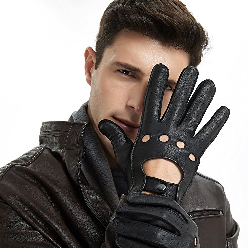 Mens Smart Soft And Excellent Quality Italian Deerskin Black Leather Driving Gloves For Men ()