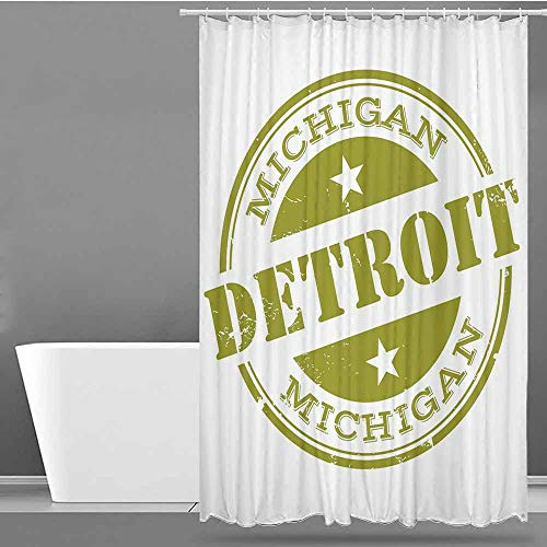 VIVIDX Funny Shower Curtain,Detroit Decor,Aged Grunge Detroit Michigan Stamp Design with Stars Tourism Travel,for Master, Kid's, Guest Bathroom,W36x72L Olive Green White
