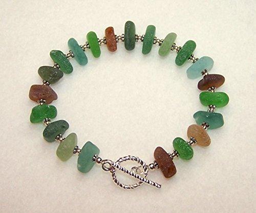 Sea Glass Bracelet for Women Multi Color Toggle (Theme Toggle Bracelet)