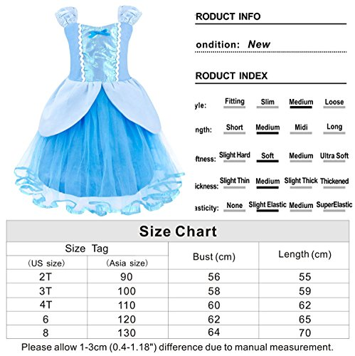Cotrio Princess Cinderella Costume for Girls Halloween Cosplay Party Fancy Dress up Size 8 (130, Cinderella Tutu Dress) by Cotrio (Image #6)