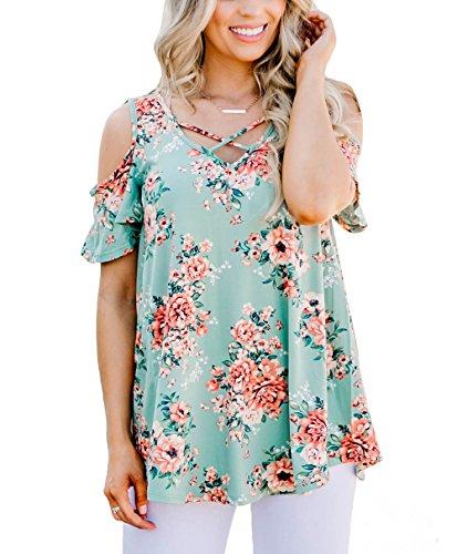 Cold Top Floral Shoulder (YILE SHU Women Casual Floral Print Cold Shoulder Short Sleeve Crisscross Front V Neck T Shirt Blouses (XL,Sage))