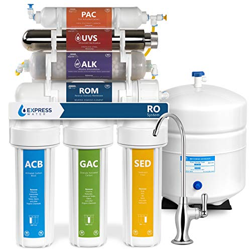 Express Water Alkaline Ultraviolet Reverse Osmosis Water Filtration System - 11 Stage RO UV Mineralizing Alkaline Purifier with Faucet and Tank - Mineral Antioxidant pH + - Under Sink Filter - 100 GDP