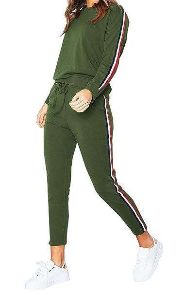 8d797feea4e8 Gavemenget Primavera Otoño Mujer Cuello Redondo Tops de Manga Larga  Sudadera Blusa Jumper Suéter + Largos