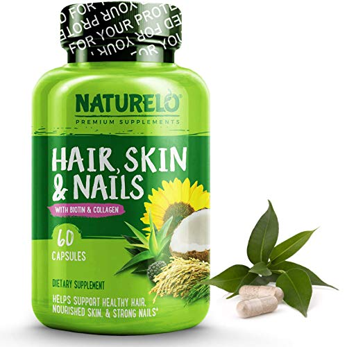 NATURELO Hair, Skin & Nails Vitamins - 5000 mcg Biotin, Natural Collagen, Organic Vitamin C - Best Supplement for Faster Hair Growth for Women - Hair Loss Treatment for Men - No Sugar - 60 Capsules