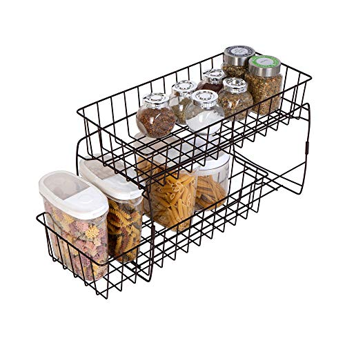 Smart Design 2-Tier Stackable Pull Out Baskets - Sturdy Wire Frame Design - Rust Resistant Vinyl Coat - for Pantries, Countertops, Bathroom - Kitchen (18 x 11.75 Inch) [Bronze]
