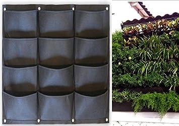Fieltro Negro Vertical Maceta Jardín salón decoración para pared Flores Bolsa De Cultivo Con Hierbas fresas: Amazon.es: Jardín
