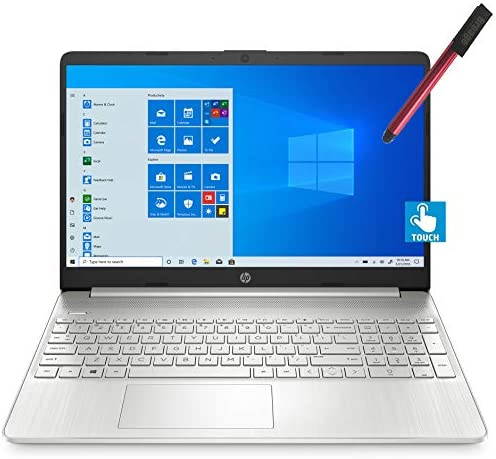 "2021 HP 15 15.6"" Micro-Edge FHD Touchscreen Laptop Computer_ Intel Quard-Core i7 1065G7 as much as 3.9GHz_ 12GB DDR4 RAM_ 256GB PCIe SSD_ Type-C_ Remote Work_ Silver_ Windows 10_ BROAGE 64GB Flash Stylus"