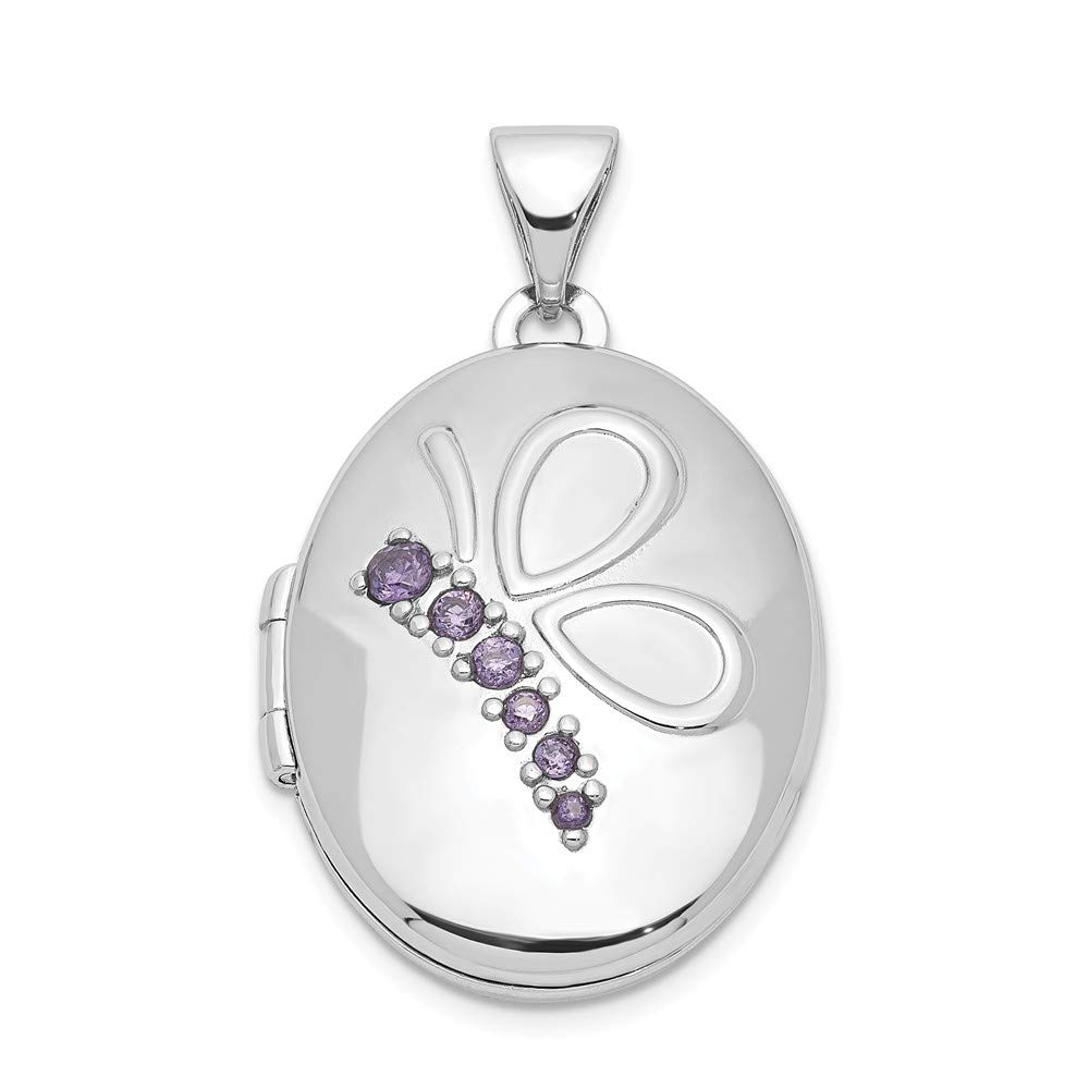 Jewel Tie Sterling Silver 21mm Oval with Butterfly /& CZ Cubic Zirconia Locket