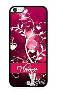 iZERCASE Personalized Pink Hearts on Trees Pattern RUBBER iPhone 5C case - Fits iPhone 5C T-Mobile, AT&T, Sprint, Verizon and International (Black) by supermalls