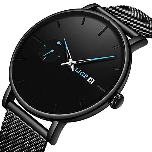 - LIGE Men Watches Black Simple Dress Watch Men Casual Fashion Waterproof Stainless Steel Mesh Belt Analogue Quartz Watch