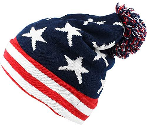 bogo Brands American Flag Knit Beanie with Pom-Pom - Slouchy Unisex Ski Cap Hat for Men and Women
