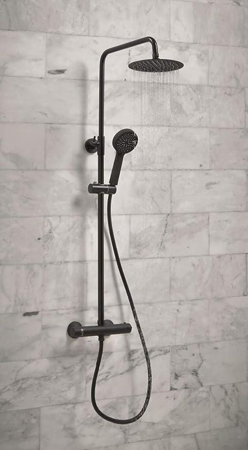 Termostato de ducha negro con elevador rígido y desviador redondo ...