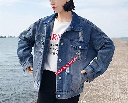 Moda Giacche Elegante Lunga Autunno Strappato Di Breasted Jeans Manica Blau Con Giovane Giaccone Tasche Baggy Single Mantello Semplice Bavero Cappuccio Donna Glamorous Giacca EwqzI0XS