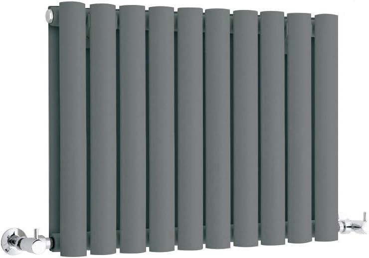 Termosifone con Finitura Antracite 400 x 415mm 433W Hudson Reed Revive Radiatore Termoarredo di Design Orizzontale Moderno Riscaldamento ad Acqua Calda
