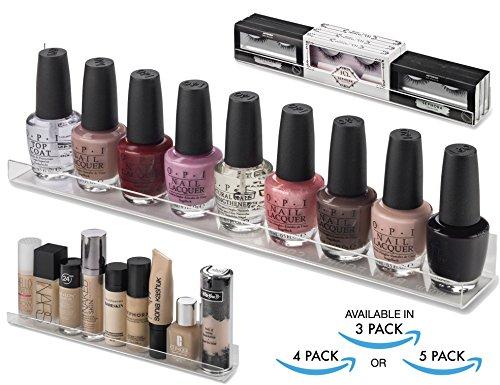 BY ALEGORY Acrylic Makeup Wall Organizing Shelves Nail Polish, Eyelashes, Foundations Cosmetics | 12 inch shelf (Pack of 5) Hardware Incld