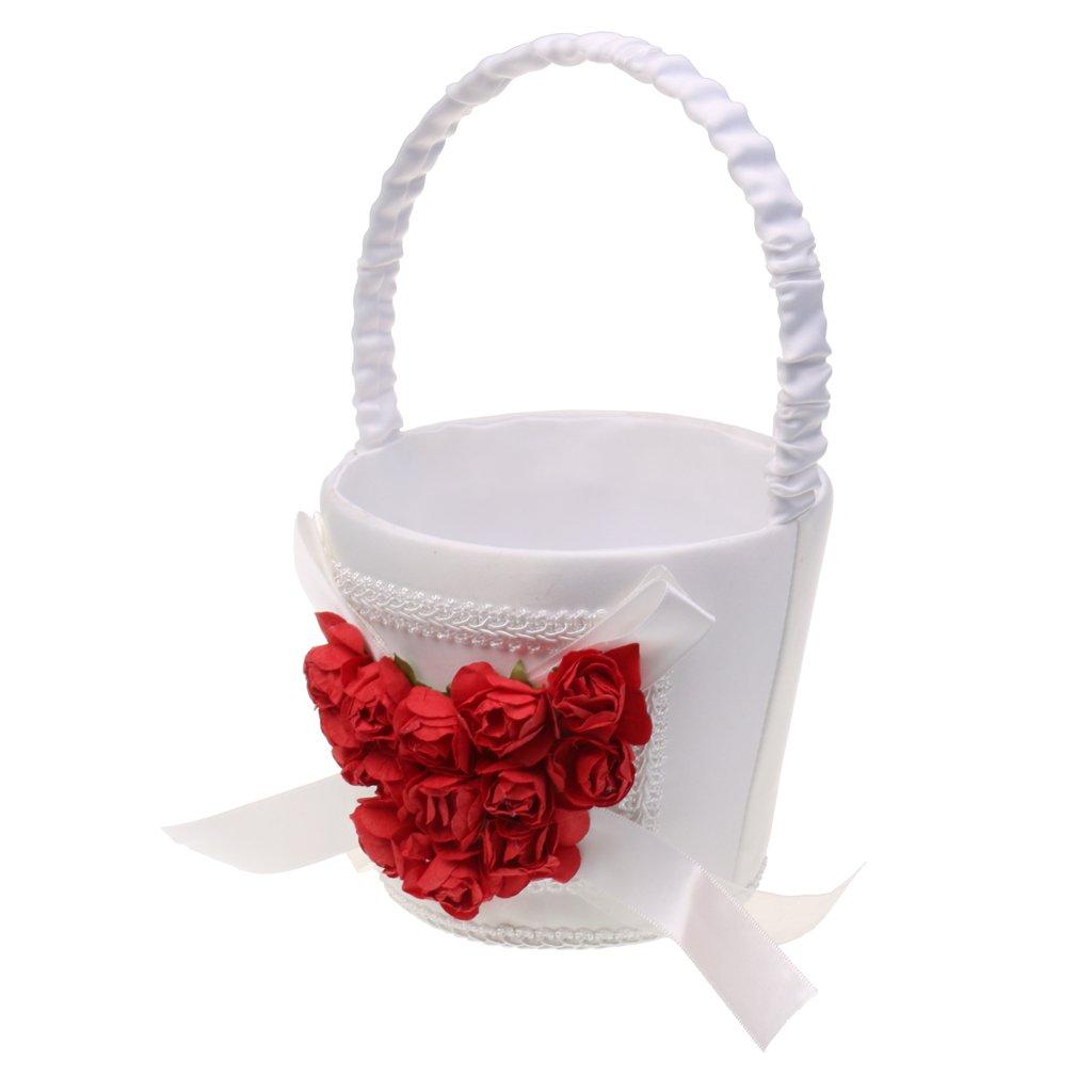 MonkeyJack Wedding Ceremony Love Heart Rose Flower Cluster Ribbon Girl Flower Basket