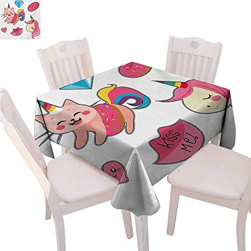 - BlountDecor Unicorn Cat Customized Tablecloth Cute Fantastic Icons for Girls Magical Characters Mythological Mascots Tablecloth That can be Used as a Tapestry 50