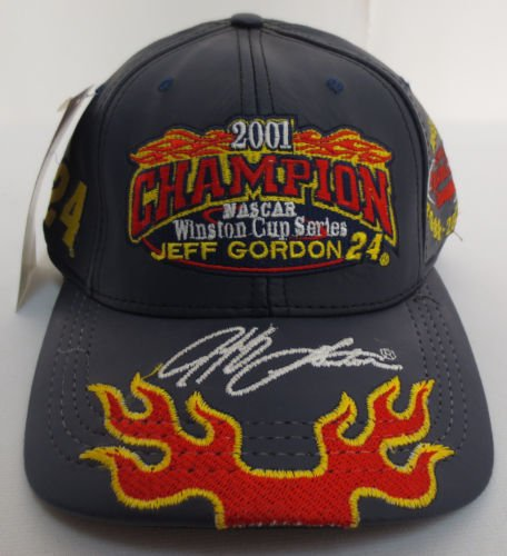 All-Leather-Jeff-Gordon-24-2001-Winston-Cup-Series-Champion-Championship-1995-1997-1998-2001-Black-With-Red-Yellow-Flames-Highlights-Hat-Cap-One-Size-Fits-Most-OSFM-Chase-Authentics