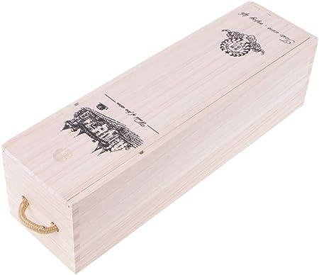 SimpleLife Caja de Embalaje de Regalo Medida con Madera de Pino y Vino Tinto.