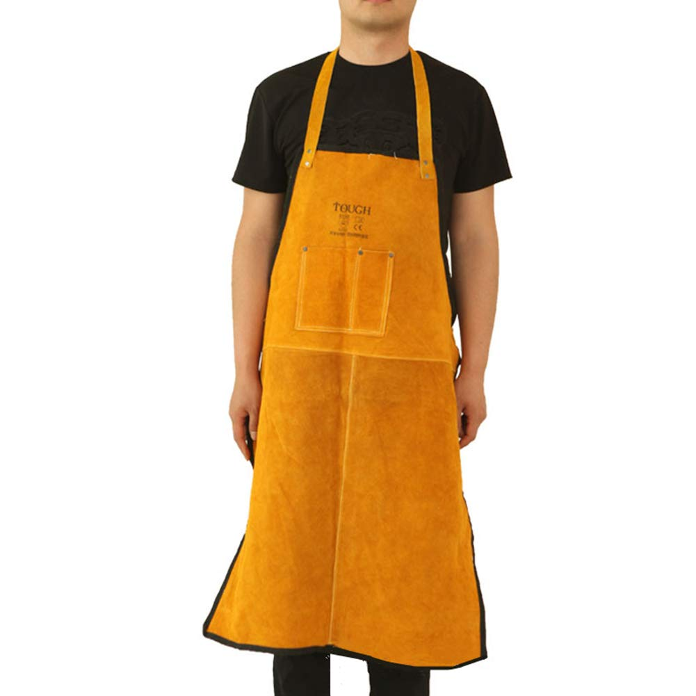Leather Welding Apron Work Heat Resistant Wear-Resistant Insulation Adjustable One Size with a Pocket (90x60cm)