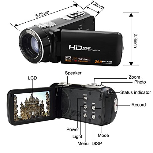 """Camcorder Video Camera Full HD 1080p @30fps Camcorders 3"""" Touch Screen Digital Camera Support Webcam with Remoter Controller by COMI (Image #5)"""