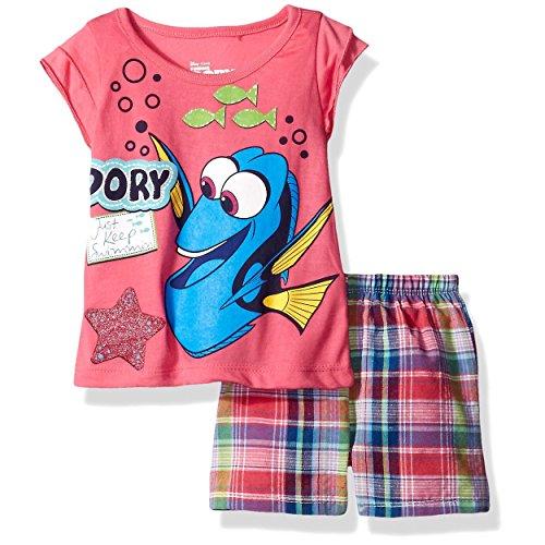 (Disney Girls' 2 Piece Finding Dory Short Set, Dory Pink,)