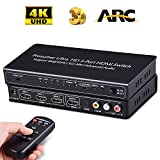 HDMI Switch Audio Extractor Splitter 4K Auto Switcher HUB with ARC Remote Selector 3 Port in to Coax / Optical SPDIF Toslink & 3.5MM / LR RCA Out 3D Video Extender Box for TV Projector HDCP Speakers