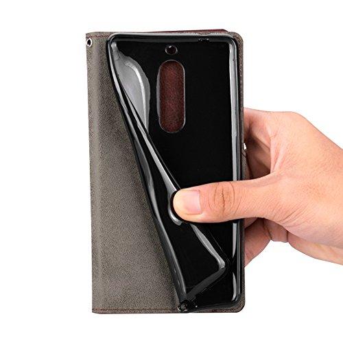 LUSHENG Funda para Huawei Mate 10 Lite,Heavy Duty Choque Absorción Flip Suave PU Cuero Textura Leather Libro Estuche Protectora Cartera Billetera Case Plegable Cover y Función de Soporte - Blanco Negro