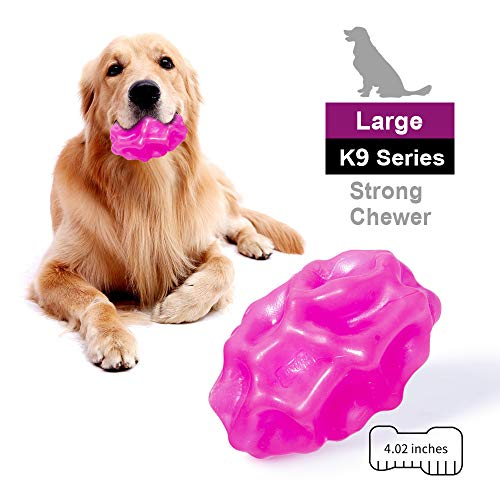 EETOYS K9 Max Indestructible Dog Toy for Aggressive Chewers Lifetime Replacement Guaranteed TPE Rubber Treat Dispensing Dog Toy Xeno Series (Egg, Large)