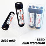 4x 18650 Protected 3400mAh Orbtronic-Panasonic Li-ion 3.7V High Performance Rechargeable Batteries For High Power Flashlights