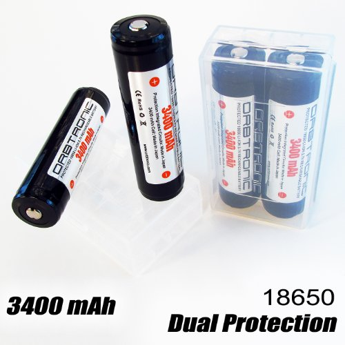 4x 3400mAh ORBTRONIC Protected 18650 Battery Rechargeable Ce