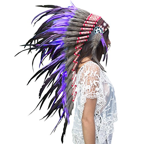 Long Feather Headdress- Native American Indian Inspired- Handmade by Artisan Halloween Costume for Men Women with Real Feathers - Purple (Male Costume Halloween)