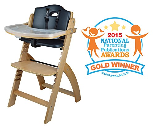 51MuwO4pFcL - Abiie Beyond Wooden High Chair With Tray. The Perfect Adjustable Baby Highchair Solution For Your Babies And Toddlers Or As A Dining Chair. (6 Months Up To 250 Lb) (Natural Wood - Black Cushion)