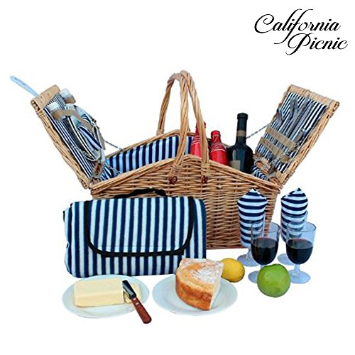 Picnic Basket Set for Men and Woman | Wicker Picnic Basket for 4 Person | Waterproof Picnic Blanket Ceramic Plates Metal Flatware Wine Glasses S/P Shakers Bottle Opener Blue Stripe Lining Kids Picnic (Wine Wicker Basket Picnic)