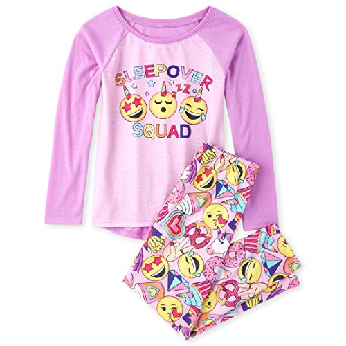 The Children's Place Girls' Big Raglan Top and Pants Pajama Set, Windflower, XS (4)
