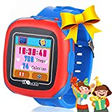 Kids Smart Watches with Games, 1.5' Touch Children Tracker Pedometer Step Count Wristwatch Digital Timer Alarm Stop Sports Clock Health Monitor Outdoor Birthday Gifts for Boy Girl (Blue)