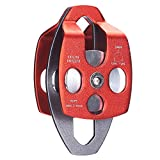 Wellsem Aluminum 24KN Large Twin Sheave Double Pulley / MAX ROPE 5/8 or 16mm For Rescue / Lifting / Climbing
