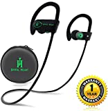 JOYFUL HEART JH-800 Wireless Headphones Bluetooth Earbuds, Waterproof Sports Headset with Microphone, Noise Cancelling Earphone for Running and Workout, 8 Hour Battery - Black/Green