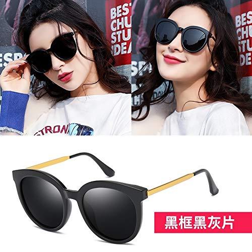 2018 polarized sunglasses women girls star sunglasses 2018 tide glasses myopia fashion personality round face korea (black box - black and gray pieces