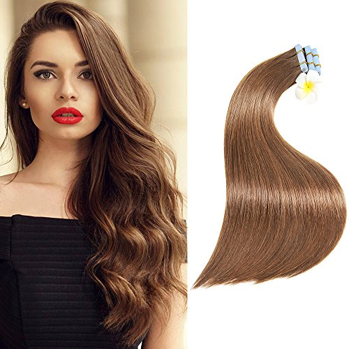 Tape In Hair Extensions Remy Human Hair 14 Inch 40g 20pcs Straight Seamless Skin Weft Tape Hair Extensions(14Inch 6# Medium Brown) ()