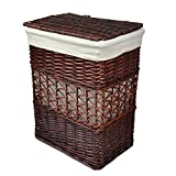 Rurality Vintage Wicker Laundry Basket with Lid and Cotton Liner