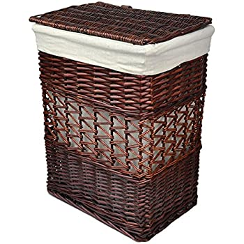 Rurality Vintage Wicker Laundry Basket With Lid And Cotton Liner Home Kitchen